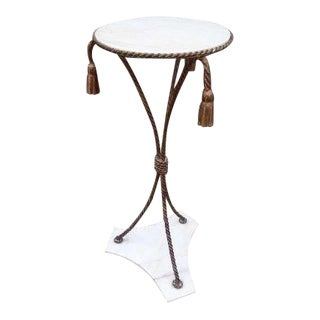 1960's Vintage Italian Gilted Metal Pedestal Table For Sale