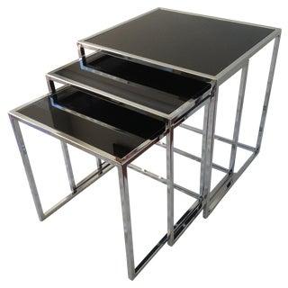 Milo Baughman Chrome Nesting Tables - Set/3 For Sale
