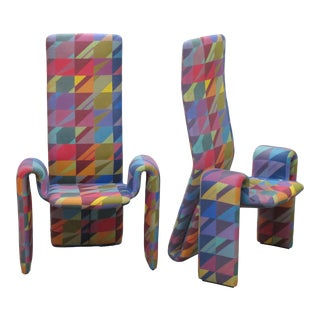 1990s Brayton International High Back Arm Chairs - a Pair For Sale