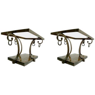 Pair of Arturo Pani Brass Side Tables For Sale