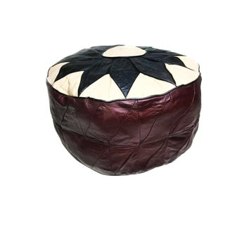 Vintage Turkish Leather Pouf