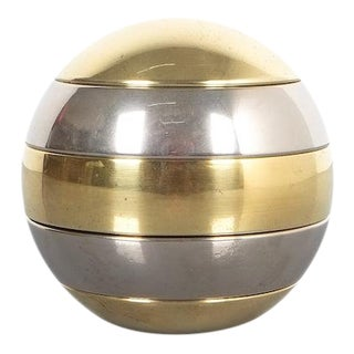 Tommaso Barbi Stacked Brass and Chrome Bowls For Sale