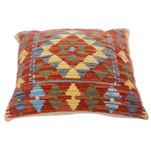 "Asian Clare Rust/Lt. Blue Hand-Woven Kilim Throw Pillow(18""x18"") For Sale - Image 3 of 6"