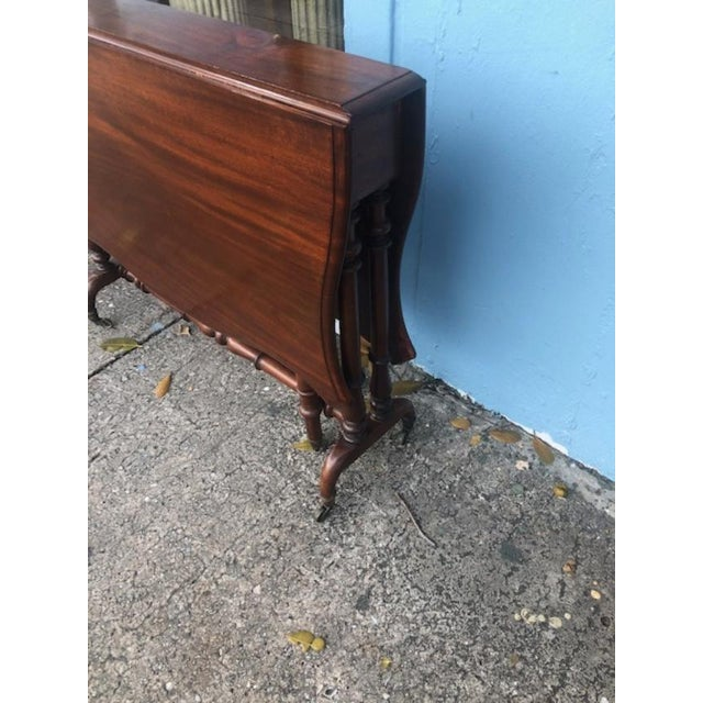 English Antique English Mahogany Drop Leaf Table For Sale - Image 3 of 7