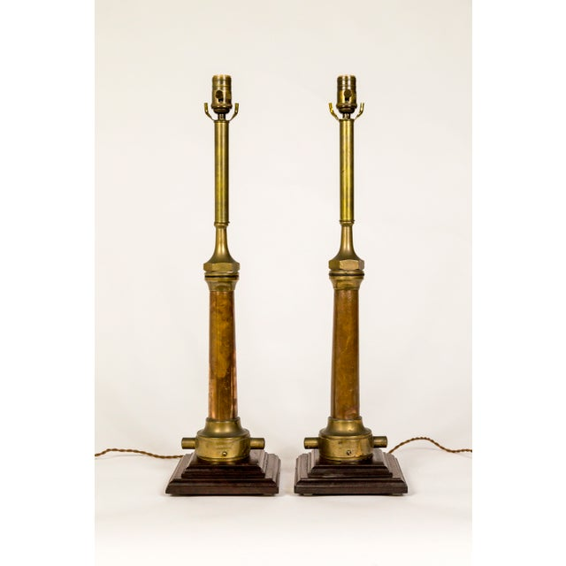 1900s Victorian Fire Hose Nozzle Lamps - a Pair For Sale - Image 13 of 13