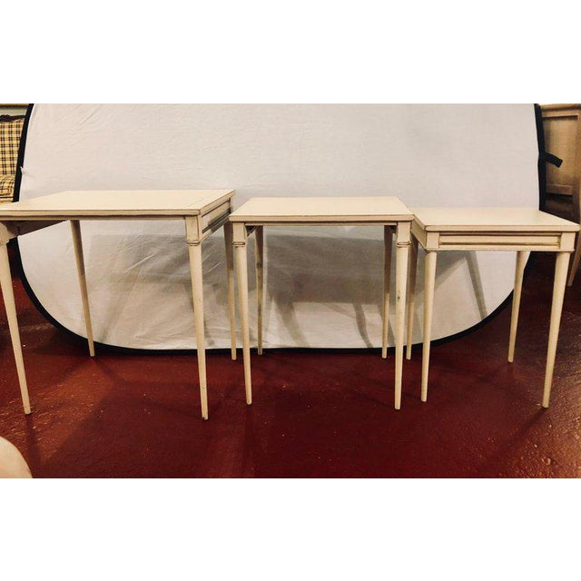 Paint Set of Three White Painted Nesting / Stacking Tables Attributed to Jansen For Sale - Image 7 of 13