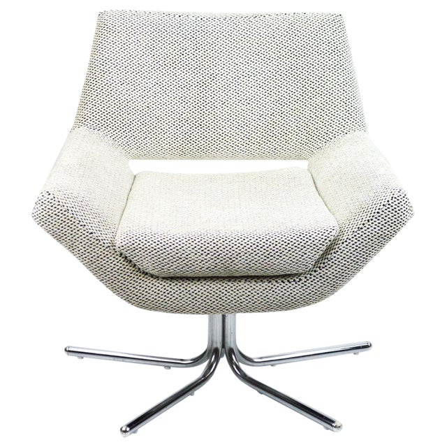 Mod Swivel Chair on Chrome Base-New Upholstery For Sale