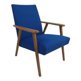 Royal Blue Swedish Modern Lounge Chair For Sale