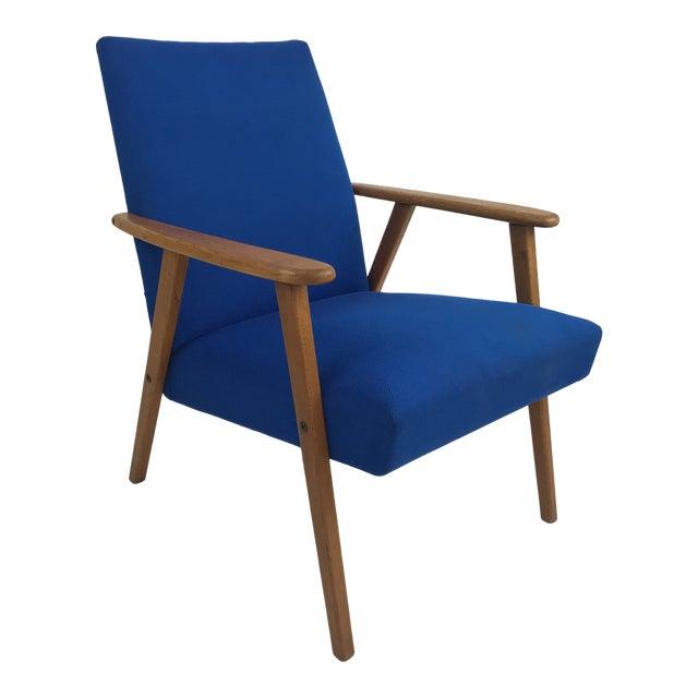 Royal Blue Swedish Modern Lounge Chair For Sale