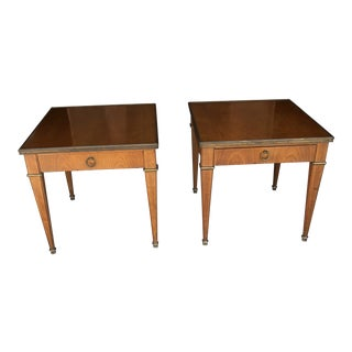 1970s Neoclassical Baker Furniture Cherrywood Side Tables - a Pair