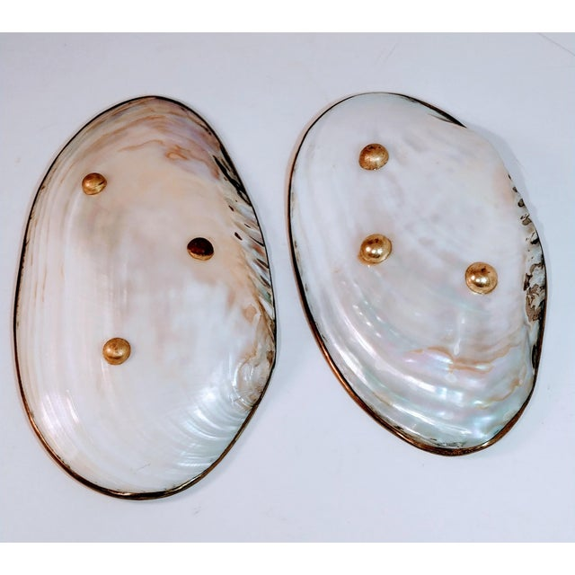 Boho Chic Vintage Shell & Brass Mother of Pearl Dish Oyster Tray For Sale - Image 3 of 13