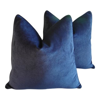 "Designer Midnight Blue Velvet Feather/Down Pillows 24"" Square - A Pair For Sale"