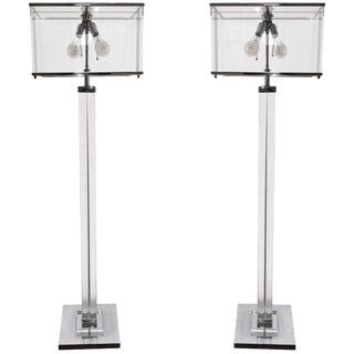"""Pair of Charles Hollis Jones """"Edison"""" Floor Lamps in Lucite and Polished Nickel For Sale"""