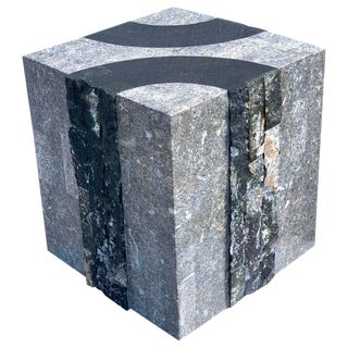 Modern Tessellated Stone Cube/ Side Table by Oggetti, Italy For Sale