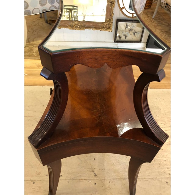 Grosfeld House 1930s Traditional Grosfeld House Crotch Mahogany 2-Tier Nightstand - a Pair For Sale - Image 4 of 13