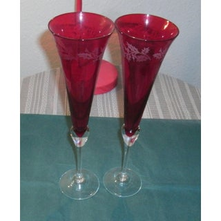 Late 20th Century Lenox Holiday Gems Toasting Flutes in Ruby Red - a Pair Preview