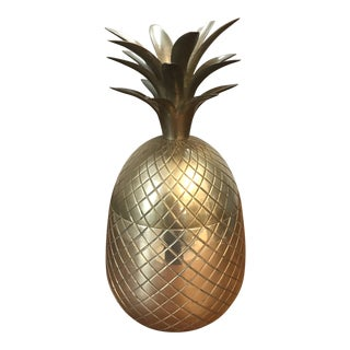 1980s Vintage Brass Pineapple Ice Bucket For Sale