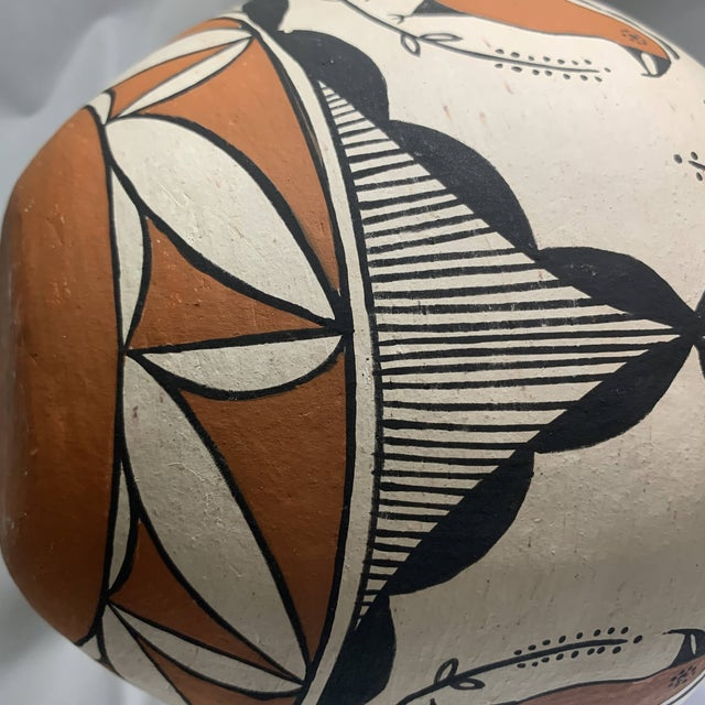 Clay Southwestern Acoma Pueblo Polychrome Olla Parrot Jar For Sale - Image 7 of 13