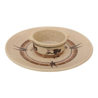Southwestern Style Buffalo Chip & Dip Serving Set - a Pair For Sale