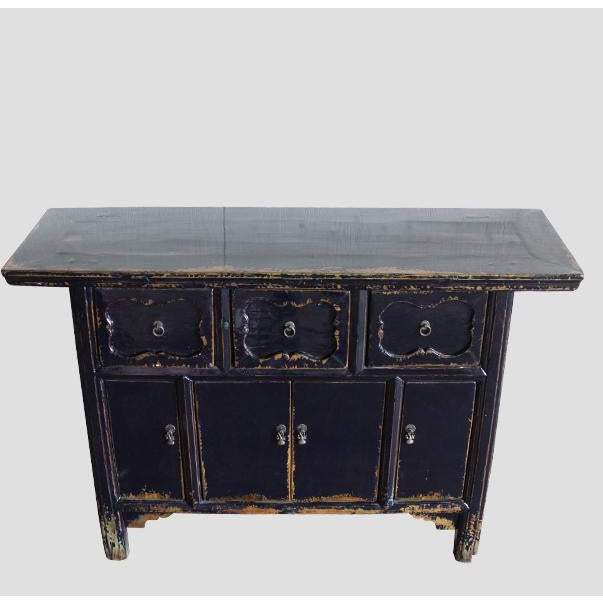 This antique altar table was restored to current dark blue color. It's solid elm with three drawers and four doors, and...