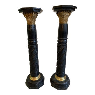 French Marble Pedestals circa 1860 with Bronze Mounts - A Pair For Sale