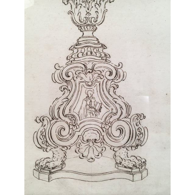 18th Century Italian Pen and Ink Baroque Candlestick Drawing - Image 5 of 6