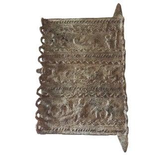 """African Dogon Bronze Miniature Door 6"""" H For Sale"""