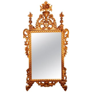French Louis XV Style Giltwood Mirror With Carvings of Flowers, Leaves & Scrolls