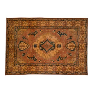 Hand-Knotted Pure Wool Kazak Orange Rug- 6′2″ × 8′9″ For Sale