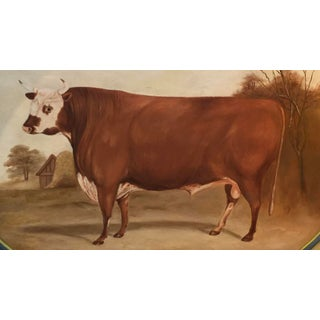 Original Bull in Landscape Hand Painted Tole Tray Preview