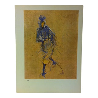 """Circa 1980 """"Jane Avril Dancing 1893"""" Color Print of a Toulouse-Lautrec Drawing For Sale"""