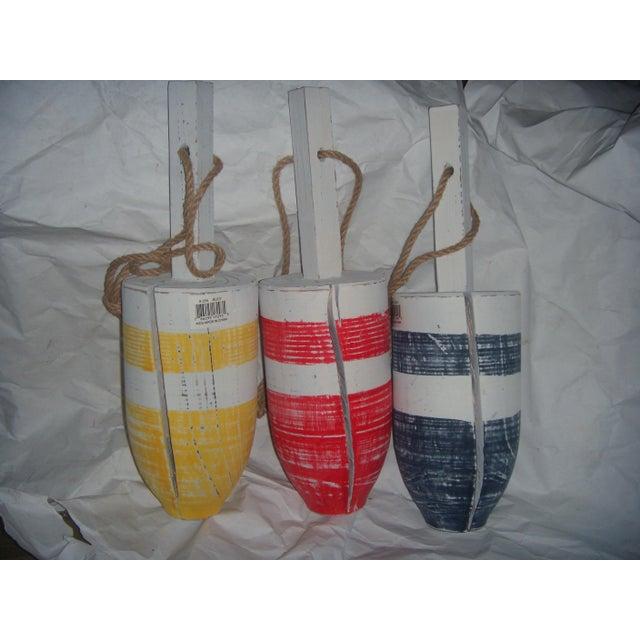 Primary-Stripe Wood Buoys - Set of 3 - Image 2 of 5