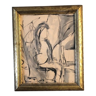 Vintage Original Abstract Figure Painting Interior Mid Century Modern For Sale