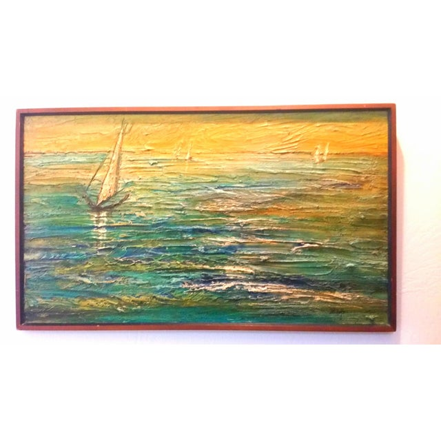 Van Hoople Ship Boat at Sea Oil Painting Mid Century Seascape For Sale - Image 6 of 6