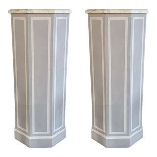 Pair of Hollywood Regency Style Pedestals Paint Decorated Wood With Marble Tops For Sale