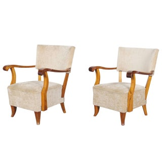 Vintage French Art Deco Lounge Chairs For Sale