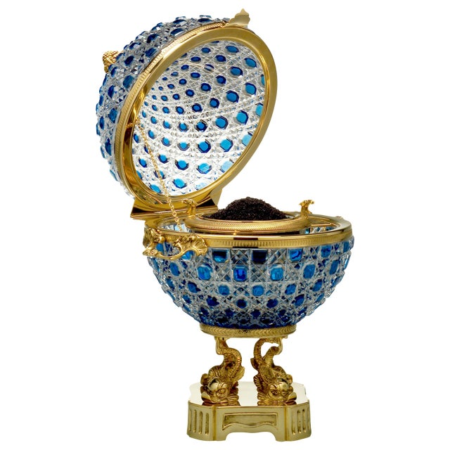 Monumental Crystal and 24k Caviar Bowl by Cristal Benito For Sale