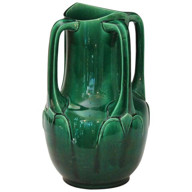 Awaji Pottery Art Nouveau Four Handle Buttress Vase For Sale