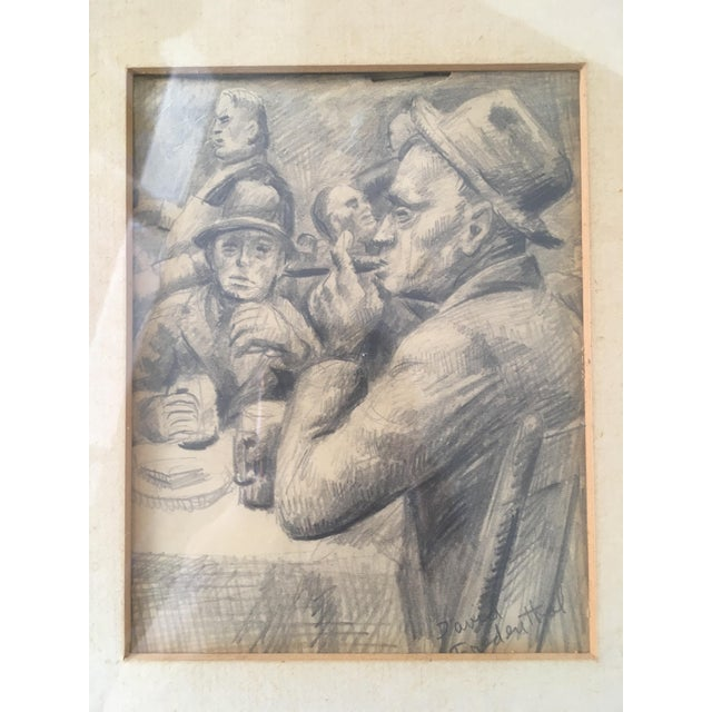 "David Fredenthal Vintage Original ""Boxer, Portrait, Card Game"" Drawings by David Fredenthal - Set of 3 For Sale - Image 4 of 11"