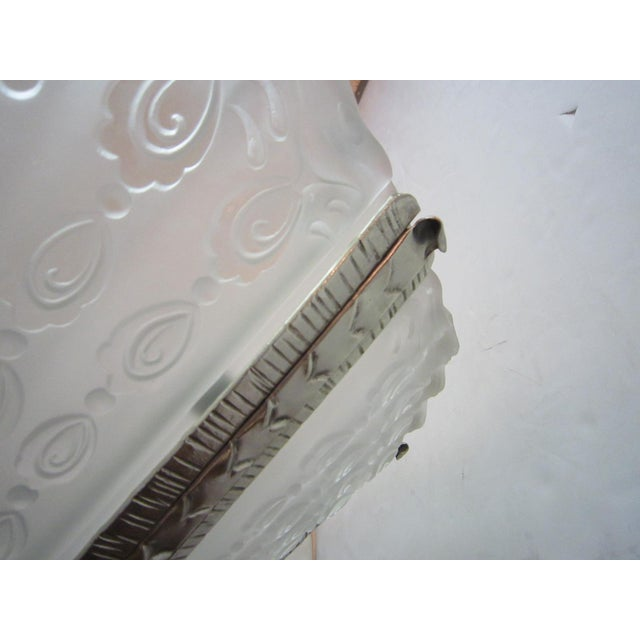Massive Verrerie Belge Art Deco Frosted Glass Chandelier, Stamped F. Carion For Sale - Image 9 of 13