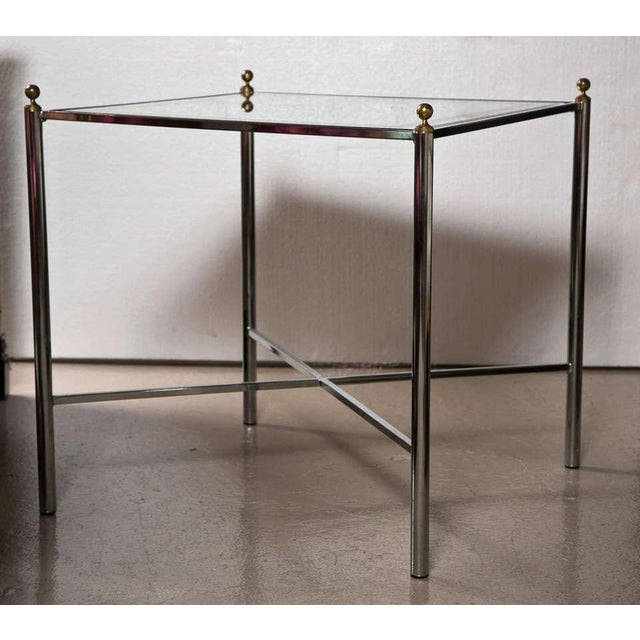 Jansen Mid-Century Style Chrome Side Tables - Pair - Image 2 of 7