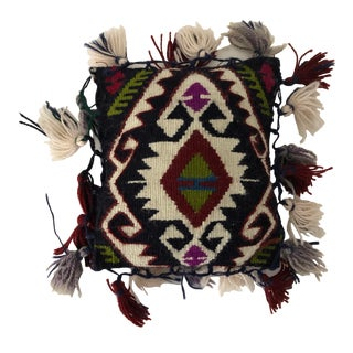Vintage Handmade Pillow Turkish Wool Kilim With Tassels and Hearts For Sale