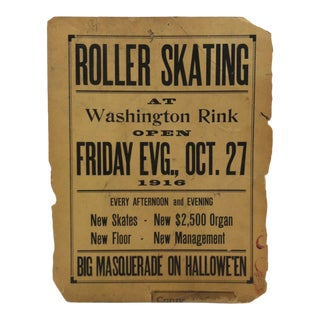 "1916 Vintage ""Washington Rink"" Halloween Roller Skating Sign For Sale"