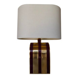 1960s Italian Solid Brass and Enameled Table Lamp by Romeo Rega For Sale