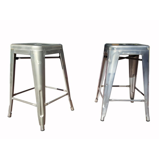 """Industrial Tolix """"Marais"""" Style Counter Bar Stools - A Pair - Image 1 of 6"""
