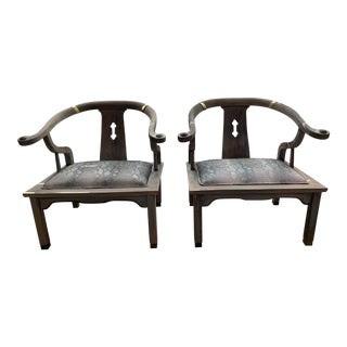 Vintage Mid Century Horseshoe Back Ming James Asian Mont Style Armchairs - a Pair For Sale