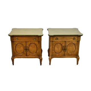 1960s Mid-Century Mastercraft Burlwood Nightstands - a Pair For Sale