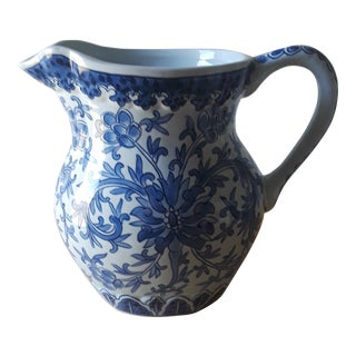 Japanese Signed Blue and White Ceramic Pitcher For Sale