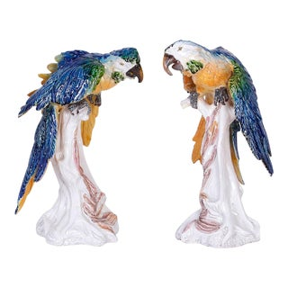 Italian Glazed Terra Cotta Parrots - A Pair For Sale