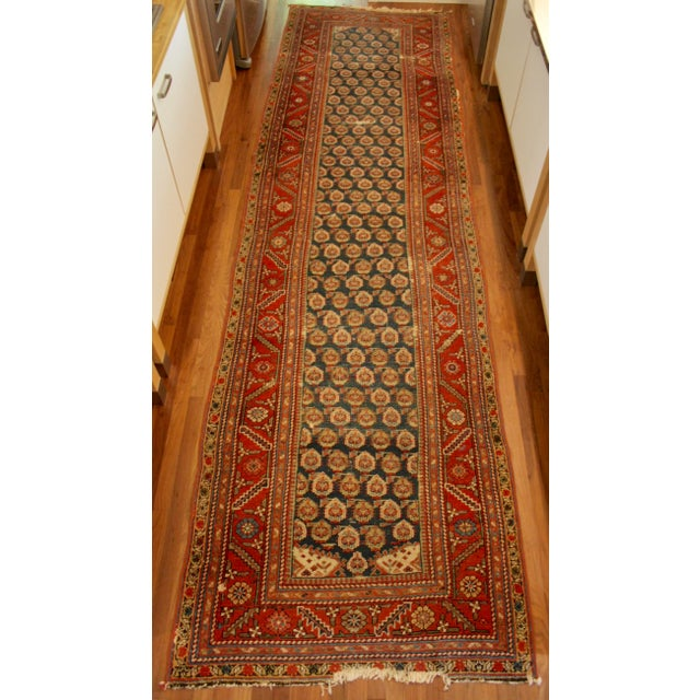 "Long Vintage Hand-Knotted Wool Rug - 13′5″ X 3'8"" - Image 2 of 11"